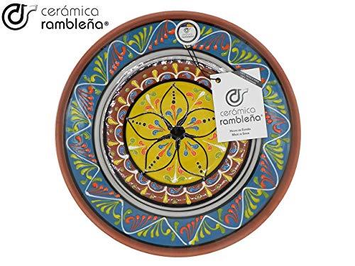 CERÁMICA RAMBLEÑA | Plato Decorativo para Colgar en Pared | Plato de cerámica | Plato decoración Mediterránea Azul-Blanco-Amarillo | 100% Hecho a Mano | 28x28x4,5 cm
