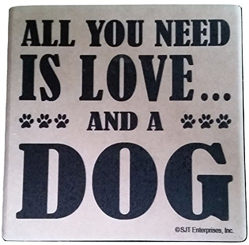 All You Need is Love & a Dog Bundle of 2 Absorbent Stone Coasters with Cork Back
