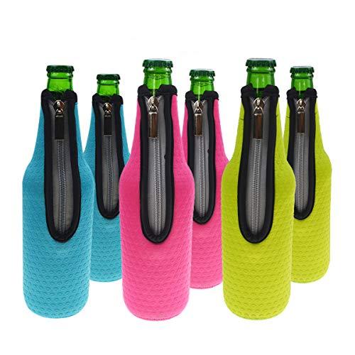 Orchidtent Bier Flaschenkühler, 6 Stück 17,6 Oz (500ml) Neopren Isoliert Reißverschluss Faltbar Bier Flaschen Kühler / Weinkühler / Getränkekühler 6 Colors 2