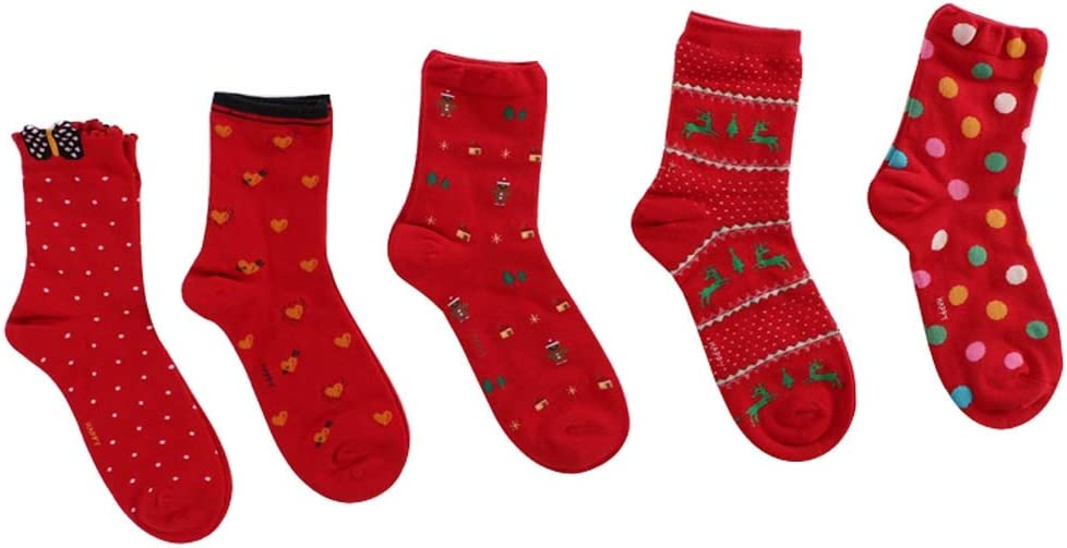5 Pairs Red Funny Christmas Socks Comfortable Winter Warm Casual Socks for Women Girls