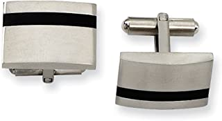Lex & Lu Chisel Stainless Steel Black Rubber Cuff Links 14mm