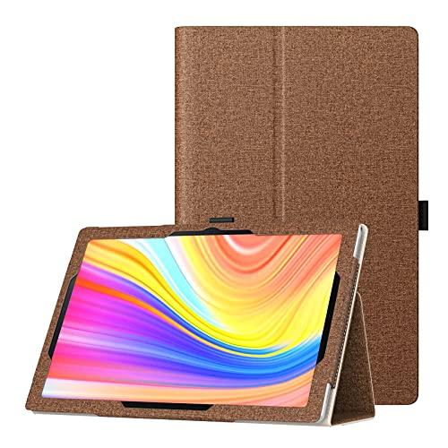 TiMOVO Funda Compatible con MatrixPad S10 10' Tablet, PU Cuero Ultra Slim Funda Compatible con Vankyo MatrixPad S10 10 Inch Tablet Función de Soporte Plegable Tableta, Denim Marrón