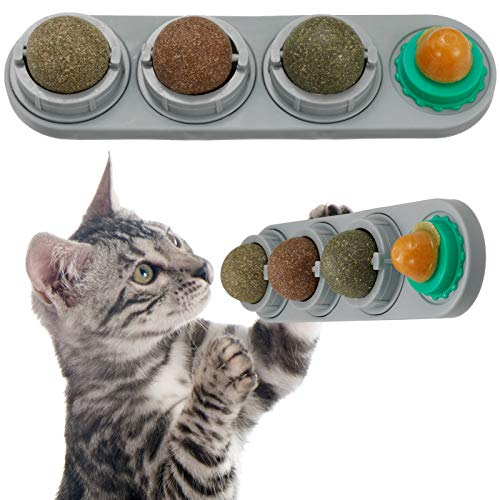 QINREN Katzenminze Ball Catnip Spielzeug, Essbare Katzenspielzeug Zahnreinigung Selbstklebend Wand Katzen-Snacks leckender Zucker Katzengras Catnip Balls