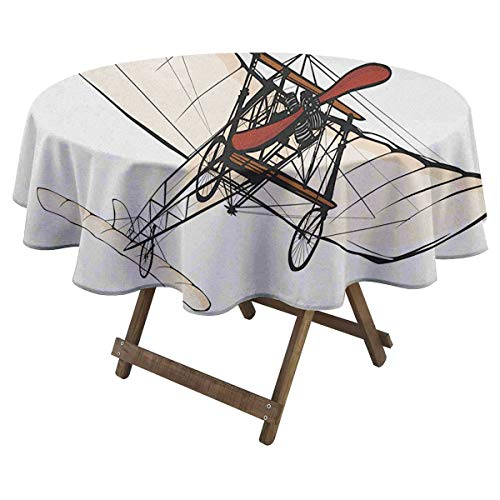 Zara Henry Vintage Airplane Printed Tablecloth Old Fashioned Plane Engine Ancient Flight Illustration Print Wild Round Tablecloth D 60' Peach Burgundy Black
