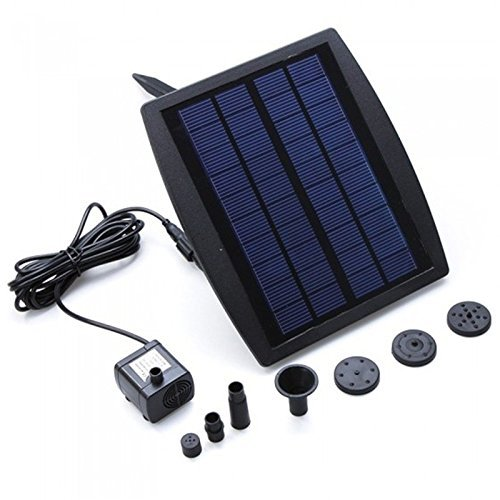 RivenAn Solar Pump for Water Fountain, Solar Powered Panel Kit Pool Garden Watering Submersible Pump, Birdbath Fountain