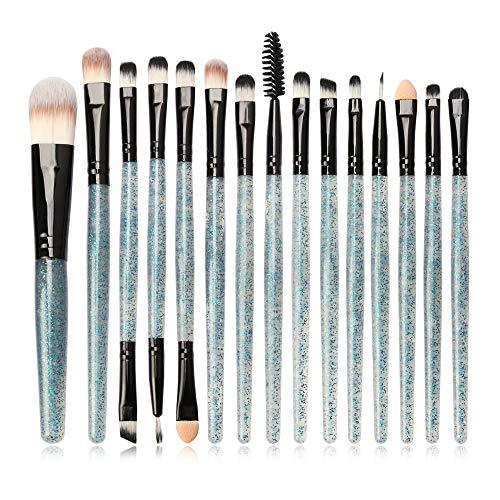 Jam Lee Makeup Brushes Set 15pcs Shiny Crystal Handle Soft Nylon Bristles Kabuki Makeup Brush Cosmetic Brushes Eyeshadow Eyeliner Blush Brushes (Green)