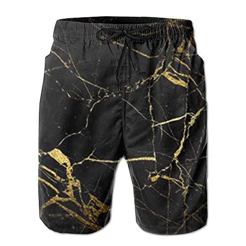 Nieuw goud en zwart behang zomer pak mannen strand broek met zakken