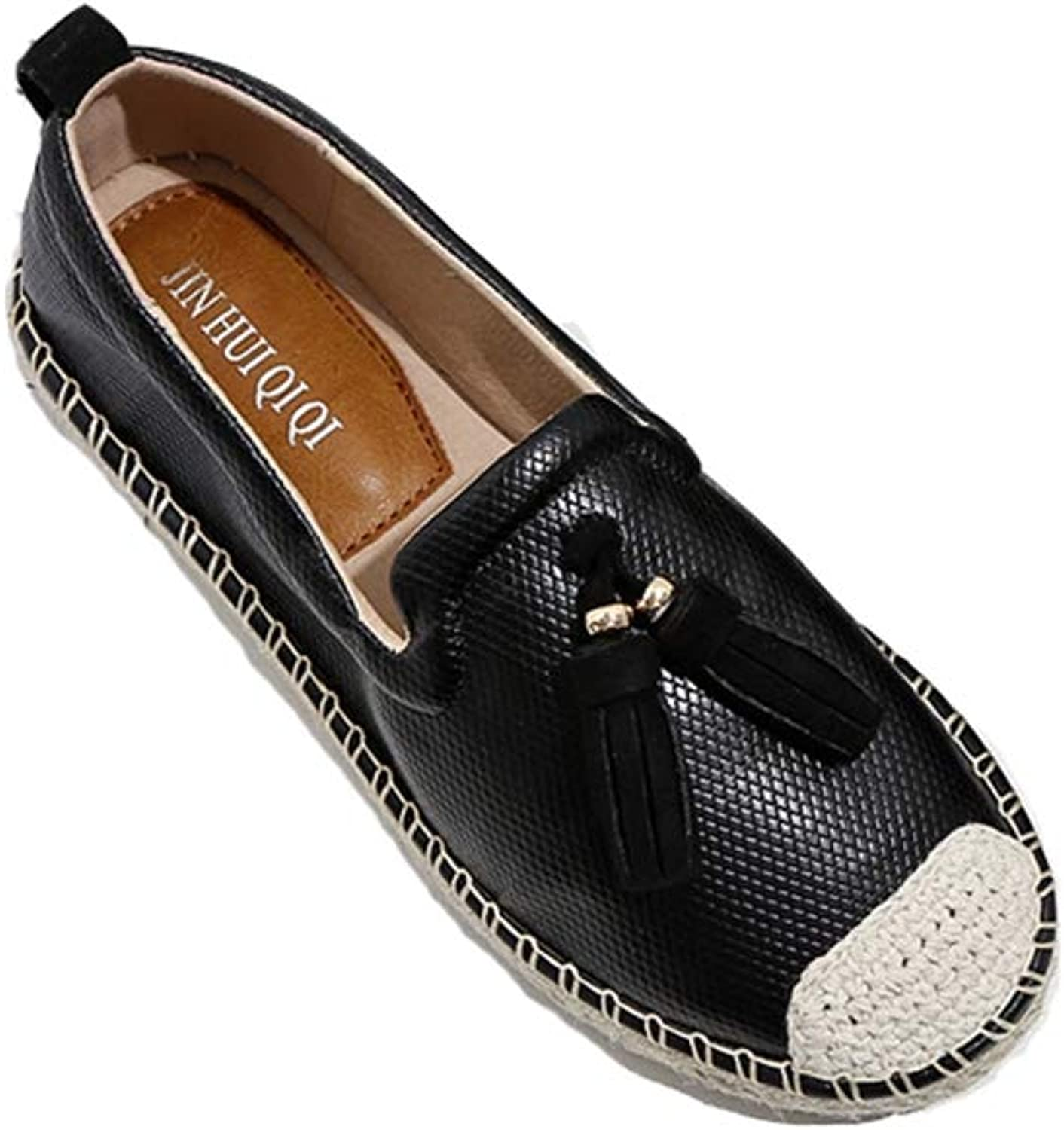 T-JULY Womens's Fashion Slip On Espadrilles Flats shoes Leather Comfortable Loafers Ladies Casual Dress Flat shoes