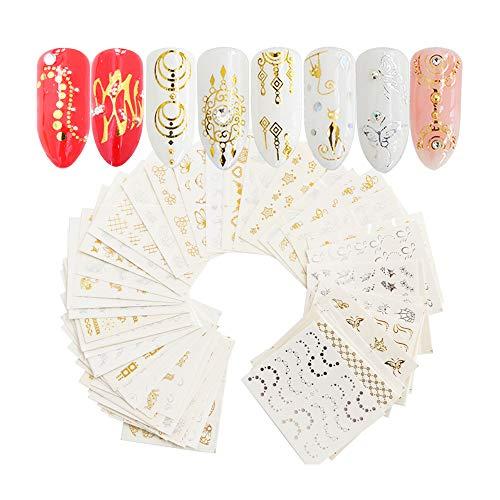 IWILCS Nagel Sticker, 30 Blätter Nagel Sticker, Nagel Selbstklebende Aufkleber, Gold Silber Nailart Sticker für Mädchen Frauen DIY Nagelstudio Weihnahten