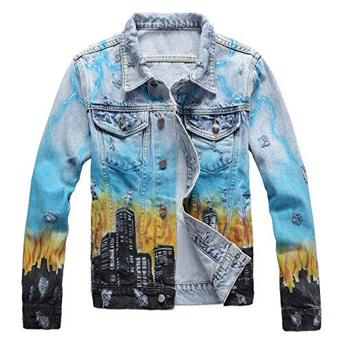 Herren-Jeansjacke mit Drachenmotiv, farbig bemalt, trendig, Streetwear mit Löchern Gr. XL, blau