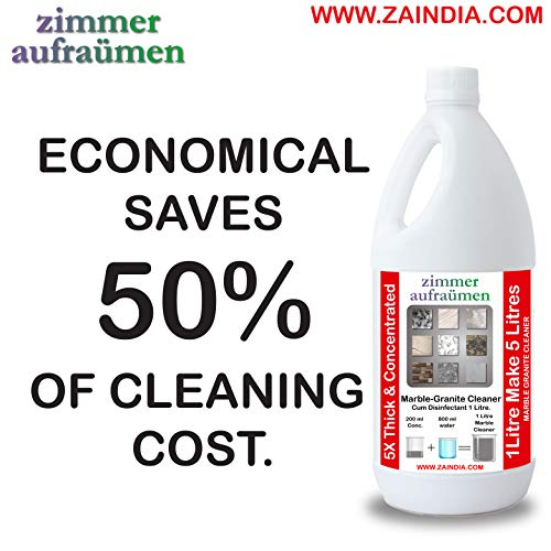 Zimmer Aufraumen 1L @ Rs. 75/- litMarble & Granite Shampoo/Floor Cleaner. 1 Liter MAKES 5 Liters of MARBLE & GRANITE CLEANER. 5X ULTRA THICK & CONCENTRATED. Biodegradable & Ecofriendly. Kids & Pet Friendly. ECONOMICAL. With French Fragrance.