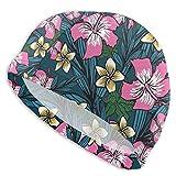 Gorro de natación con fondo de flores polinesias para baño, ducha, protección para el pelo y orejas, para hombres, mujeres y adultos