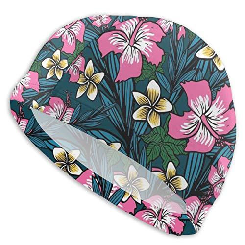 NoneBrand Gorro de natación de licra de alta elasticidad con fondo de flor polinesia, antideslizante, para adultos, unisex, para pelo largo y corto