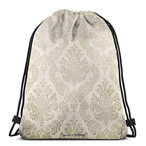 XCNGG Bolsa de gimnasia Bolsa con cordón Bolsa de viaje Bolsa de deporte Mochila escolar MochilaGrunge Damask Background Gym Bag Travel Drawstring Backpack Men & Women Sport Bag Portable Storage Bag f