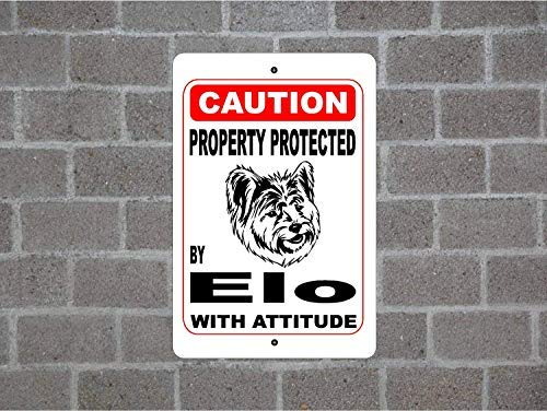 "aqf527907 Metallschild ""Property Protected by Elo Guard Dog Warning Yard Zaun Breed"", Metallschild 20,3 x 30,5 cm"