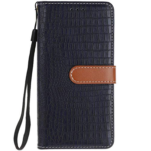ocketcase® Wiko U Feel Lite Hülle, PU Leder Flip Case Wallet Stylish mit Standfunktion Schutzhülle (Krokodilkorn 5)