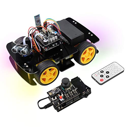 Freenove 4WD Car Kit with RF Remote (Compatible with Arduino IDE), Line Tracking, Obstacle Avoidance, Ultrasonic Sensor, Bluetooth IR Wireless Remote Control Servo
