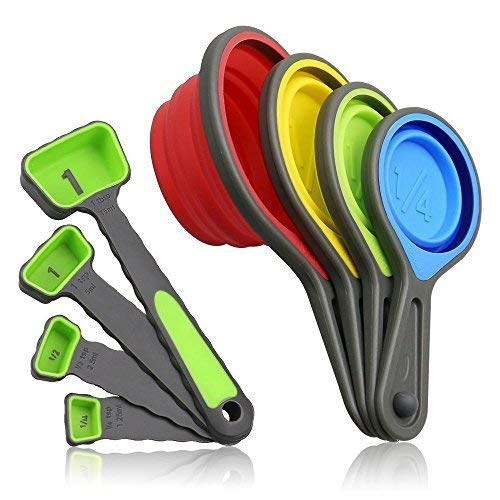 Uooker Food Grade Colorful Silicone Collapsible Measuring Cups and Measuring Spoons Set 8 Pieces for Kitchen Baking Cooking Crafts Making Both Dry and Liquid Ingredients BPA Free