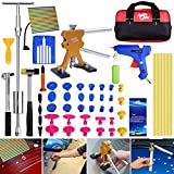 Super PDR 51Pcs Paintless Dent Repair Tools Kit, Golden Dent Lifter Slide Hammer 2 in 1 T-Bar Tool with Hot Melt Glue Gun Glue Stick for Auto Body Dent Repair or Hail Damage