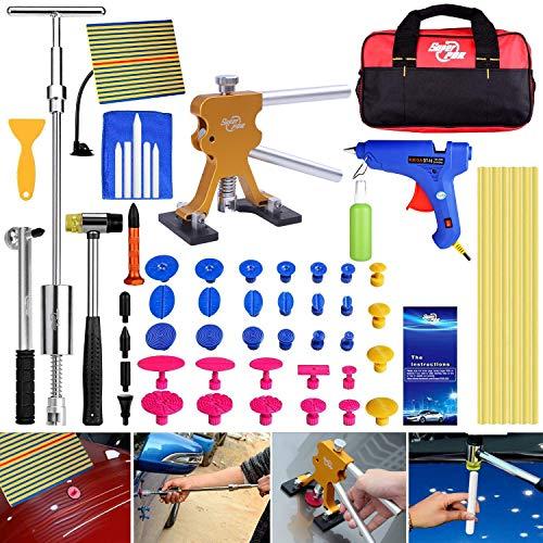 Super PDR 51Pcs Paintless Dent Repair Tools Kit, Golden Dent Lifter Slide Hammer 2 in 1 T-Bar Tool with Hot Melt Glue Gun Glue Stick for Auto Body Dent Repair or Hail Damage