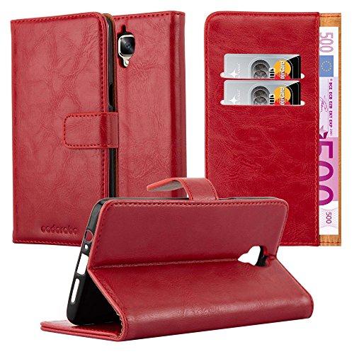 Cadorabo Hülle für OnePlus 3 / 3T in Wein ROT – Handyhülle mit Magnetverschluss, Standfunktion & Kartenfach – Hülle Cover Schutzhülle Etui Tasche Book Klapp Style