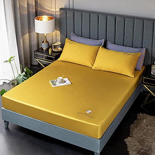 YFGY Sábana Bajera Ajustable para Cama King 180 * 200cm, sábanas Ajustables de algodón de Fibra Protector de colchón Bordado para Hotel Dormr Textiles para el hogar Amarillo 3PCS