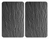 WENKO Placas cobertoras de vidrio universales XL Pizarra - 2er Set, extra groß, Kochplattenabdeckung und Schneidebrett für alle Herdarten, Vidrio endurecido, 40 x 1.8-4.5 x 52 cm, Multicolor