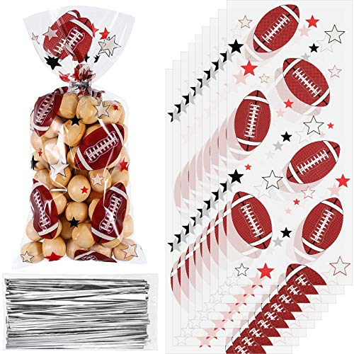 Blulu 100 Pieces Football Cellophane Bags Heat Sealable Treat Football Candy Bags Football Party Goody Bags with 100 Pieces Silver Twist Ties for Football Party Favors