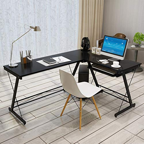 L Shaped Desk Home Office Desk, Folding Writing Computer Desk with Round Corner.VEZARON Computer Desk with Large Monitor Stand,PC Table Workstation (Black)