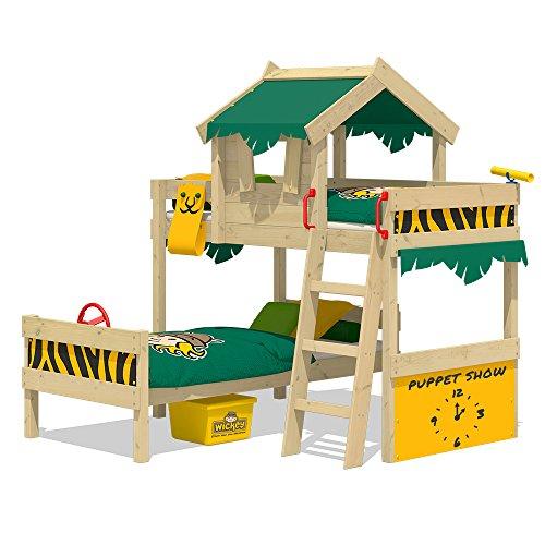 WICKEY Kinderbett \'CrAzY Jungle\' im Safari-Look - Etagenbett in verschiedenen Farbkombinationen - 90x200 cm