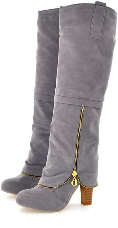 Webb Perkin Women Round Toe High Heel Retro Winter shoes Zipper Party Long Boots Fashion Lady Knee-high Boots