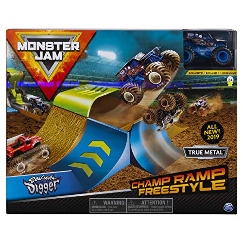 Image of Monster Jam Official Champ Ramp Freestyle Playset Featuring Exclusive Son-uva Digger Monster Truck