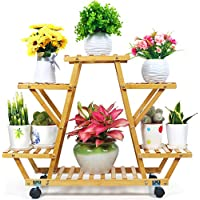 Foldify Bamboo Plant Stand with Wheels