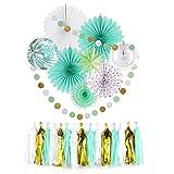 Easy Joy Decoración Verde Chic, Fan Paper Tassel Borla Decoration Menta para La Fiesta de Cumpleaños Aniversario Wedding Partido Verano Carnaval, Menta