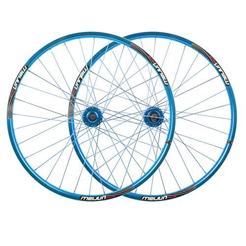 NS 26 Pulgadas Juego De Ruedas De Bicicleta Montaña Freno Disco Traseras Delanteras 32 Hoyos Pared Doble Llanta MTB Liberación Rápida 7 8 9 10 Velocidad (Color : Blue)