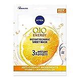 NIVEA Q10 + C Power Anti-Arrugas + Máscara de hoja de energía (1 pieza), máscara hidratante antienvejecimiento con vitamina C, máscara facial con coenzima Q10, máscara de crema antiarrugas
