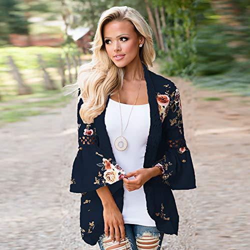 YYH Cardigan-blouse, voor dames, bloemenmotief, kimono, cardigan, kant, hemline, los S Donkerblauw