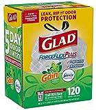 Glad ForceFlex Tall Kitchen 13 Gallon Trash Bag With Odor Shield, Gain Original Scent (120 count)