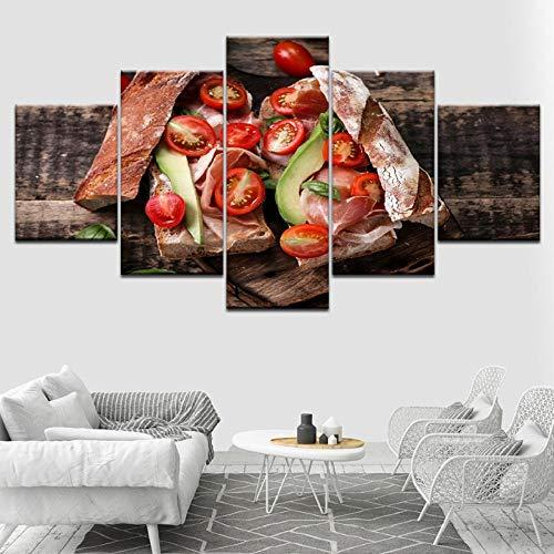 Wslin Hd gedrukte poster woonkamer wooncultuur 5 stuks tomaten groente levensmiddelen brood schilderijen modulaire canvas schilderijen muurkunst afdrukken op canvas 150 x 80 cm