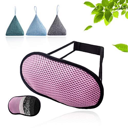Antifaz para dormir de carbón de bambú Antifaz transpirable con bloqueo de luz con absorción de productos químicos nocivos y sin presión en el globo ocular - 3 piezas de bolsas de purificación