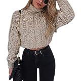 LAEMILIA Damen Mode Pullover Langarm Cropped Top Hoher Kragen Kurze Sweater Zopfmuster Bauchfrei Slim Jumper Oberteile