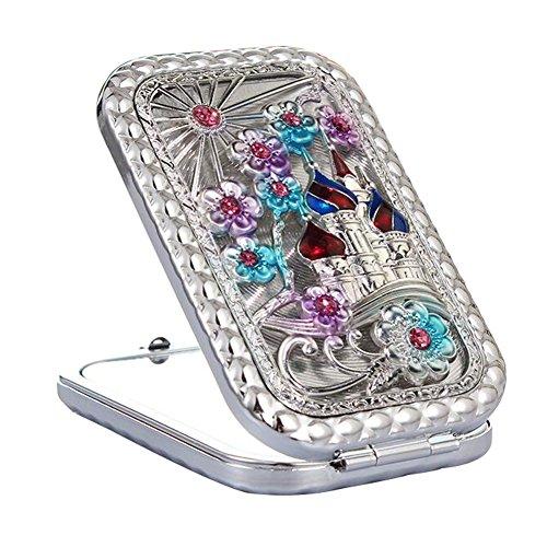 Maquillage cosmétique double face Miroir Creative Portable Mirror Silver-A3