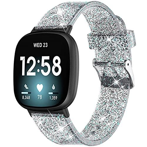 YWZQ Pulsera inteligente, compatible con Fitbit Versa 3, correa de silicona brillante, repuesto para Versa3, color negro
