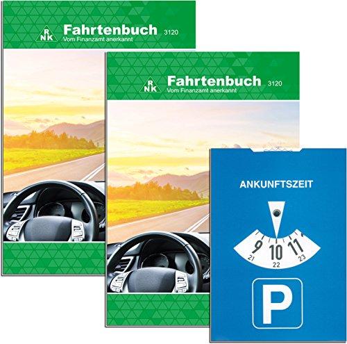 RNK - Verlag 3120/2 - Fahrtenbuch für Pkw mit extra Parkscheibe (RNK - 3120/2), für insgesammt 1054 Fahrten, steuerlicher Kilometernachweiß, DIN A5, 1 Stück