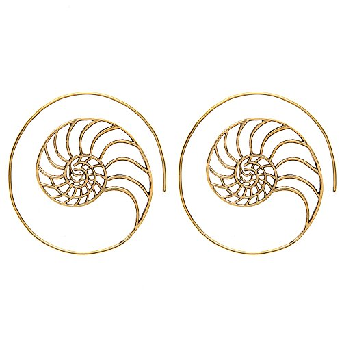 81stgeneration Women's Brass Gold Tone Golden Ratio Spiral Shell Ethnic Tribal Flat Earrings