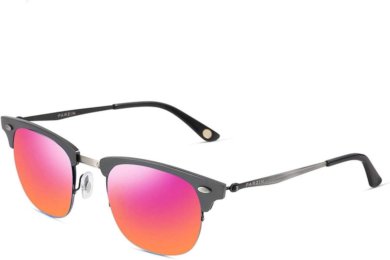 LFFTYJ Sunglasses, Female Retro Couple Half Frame Metal Frame Sunglasses Driving Mirror Retro colorful Tide take Half Frame Design Male Female Give him (her) a Good Summer Gift (color   B)