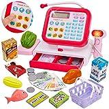 HERSITY Kinderkasse Spielzeug Kasse Kaufladen Spielkasse Kinder mit Scanner Mikrofon Elektronische Supermarkt Registrierkasse Geschenk Mädchen Jungen 3 4 5 Jahren, 33 Stück Supermarktkasse Rot