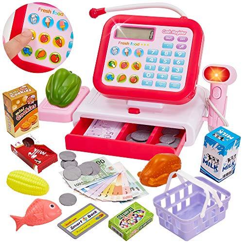 HERSITY Kasse Kinder Spielkasse mit Scanner Elektronische Supermarkt Registrierkasse Spielzeug mit Mikrofon Rollenspiel Geschenk Mädchen Jungen 3 4 5 Jahren (33 Stück, Rot)