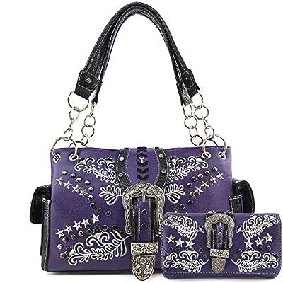 Justin West Buckle Western Floral Damask Embroidery Studs Stars Concealed Carry Handbag Purse (Purple Purse Wallet Set)