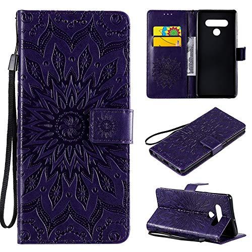 JUFENGYAO Caja Protectora de la Cuerda de Seguridad Girasol diseño de la impresión de la PU del tirón del Cuero de la Carpeta for LG Stylo 6 (Color : Púrpura)